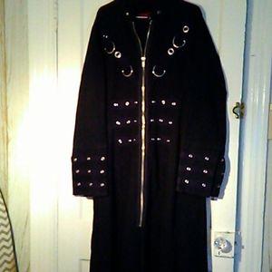"Goth ""hot topic"" long black coat heavy duty!"